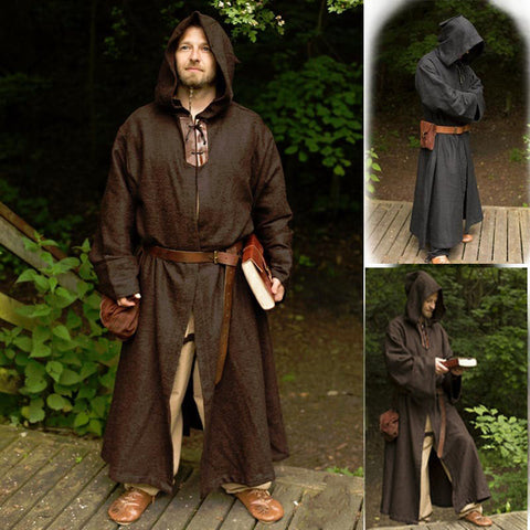 Medieval Monk Pastor Costume Hooded Gown Halloween Outfit