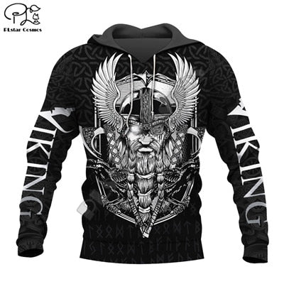 Viking Odin Raven Warrior Tattoo 3D full Print Hoodie