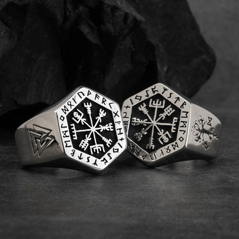 Mythology Viking Compass Rune Antique Stainless Steel Rings