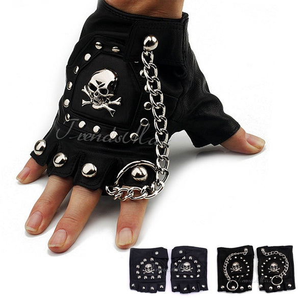 Black PU Leather Skull Nail Driving Motorcycle Gloves