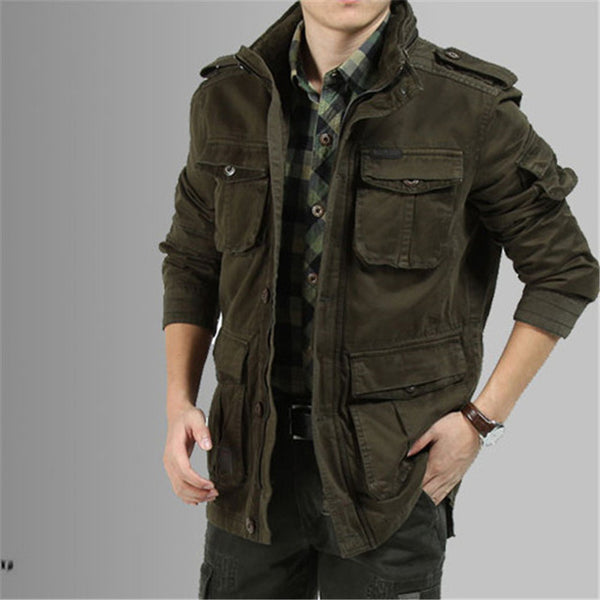 Big Size 5XL Winter Jacket Men Casual Cotton Denim Military Khaki