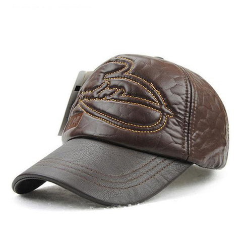 Winter Hats Baseball Leather Cap