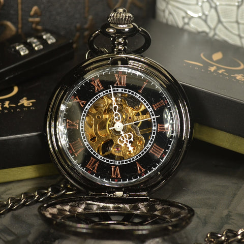 Antique Luxury Black Steampunk Skeleton Mechanical Pocket Watch