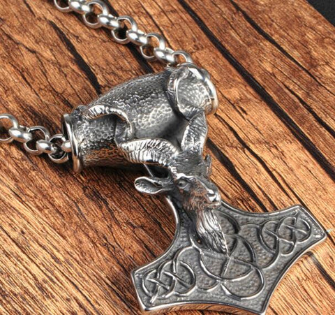 Sheep Thor's Hammer Mjolnir Necklace Pendant