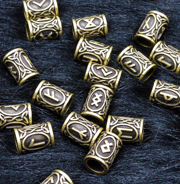 24pcs Original Viking Runes Kit Charms Beads for Beard or Hair