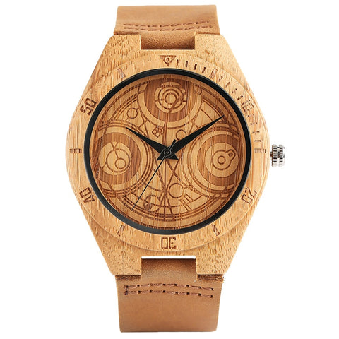 Wooden Watch Dome Engraved Doctor Who Dial Light Handmade Bamboo