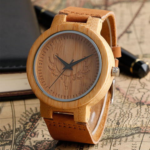 Deer Head Dial Wooden Watch Bamboo Wood Clock Soft Leather Wrist Watches