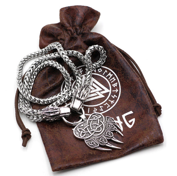 Viking Wolf Head With Thor's Hammer Mjolnir Scandinavian Pendant  NECKLACE With Stainless Steel Chain