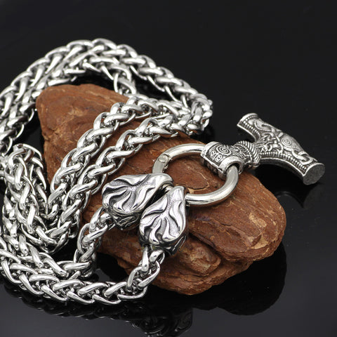 Stainless Steel Viking Raven Head with Goat Thor's Hammer Pendant Necklace