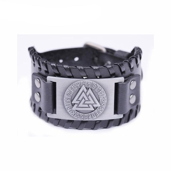 Slavic Norway Valknut Amulet Leather Bracelets Scandinavian Viking Nordic Runes