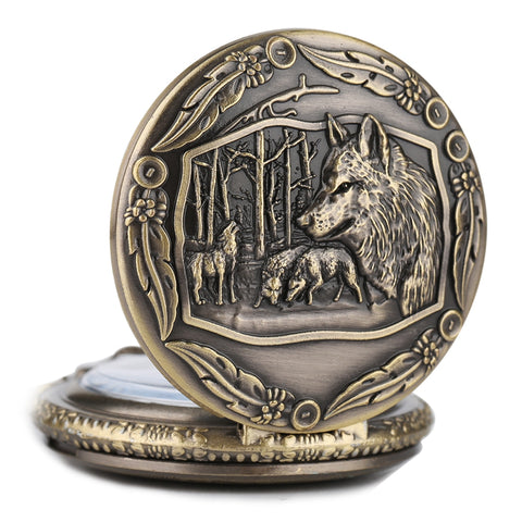 Creative Wild Wolf Retro Bronze Pocket Watch