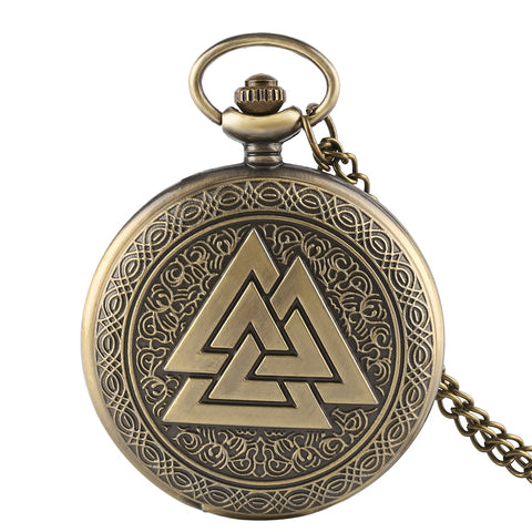 Bronze Vintage Triangle Valknut Norse Vikings Quartz Pocket Watch