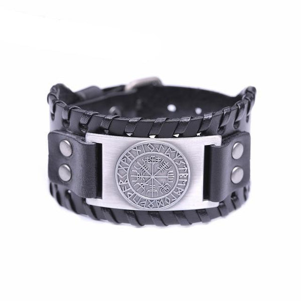 Viking Vegvisir Compass Bangles Nordic Runes Odin Symbol Wrap Genuine Leather