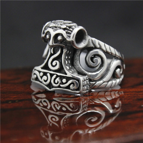 Stainless Steel Black Thor Hammer Ring