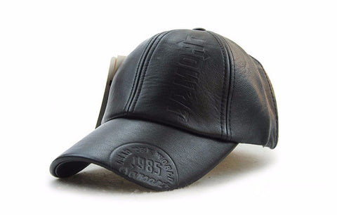 Winter PU Leather Baseball Cap