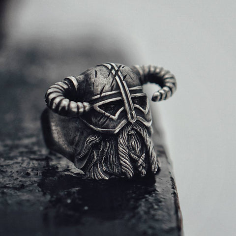 Vikings Nordic Style Horns Helmet Warrior Ring