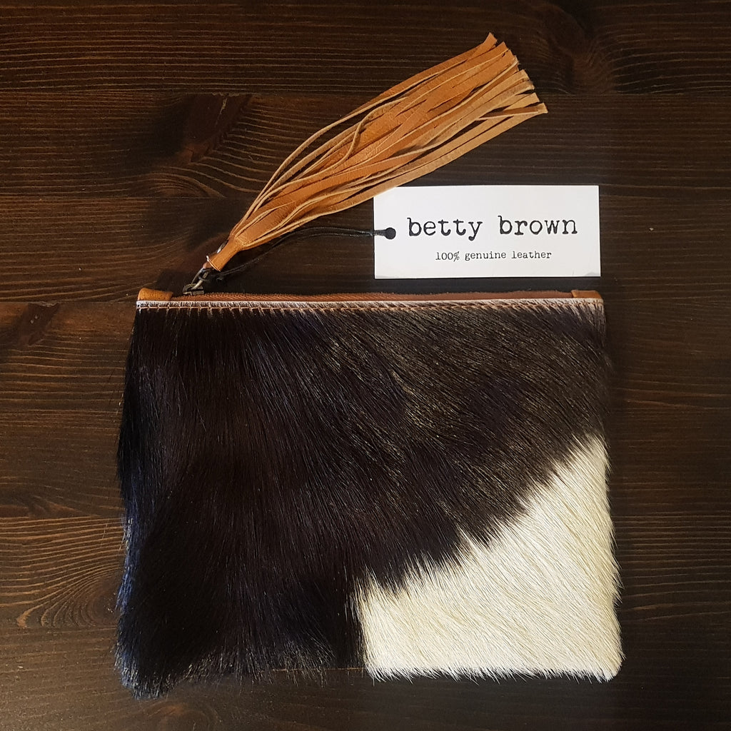 Betty Brown Marnie Clutch Black and white hide, tan leather