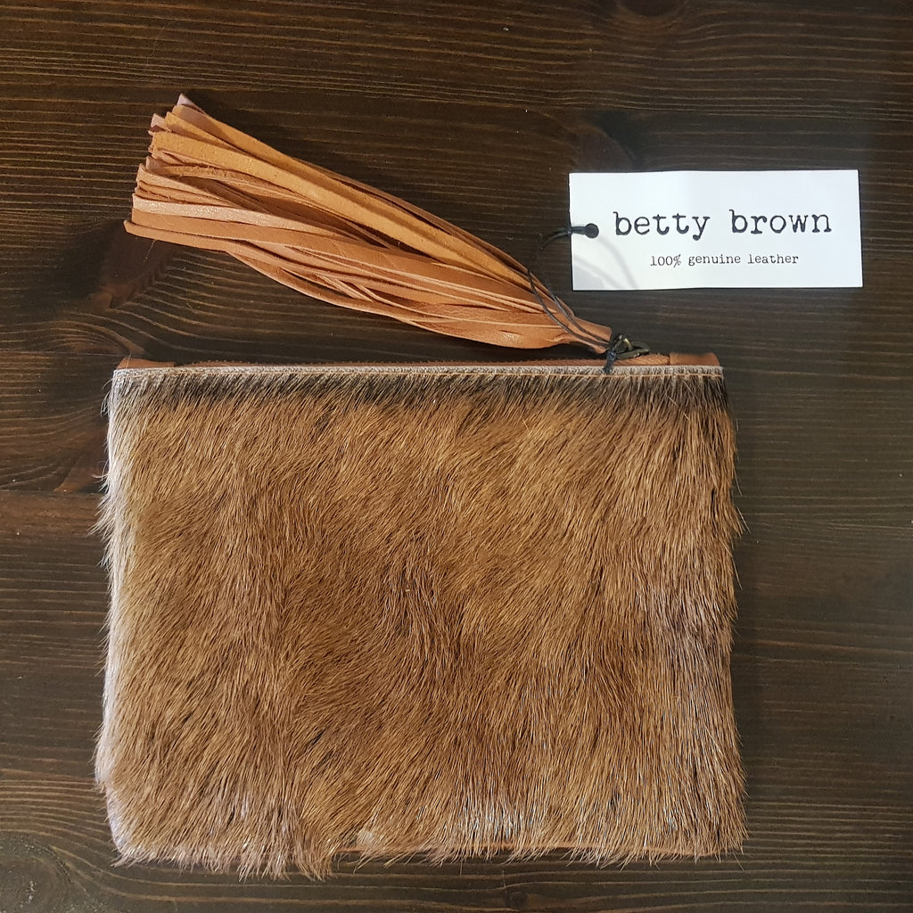 Betty Brown Marnie Clutch Tan goat hide, light tan leather