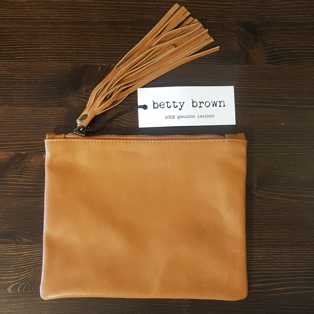 Betty Brown Marnie Clutch Tan Leather