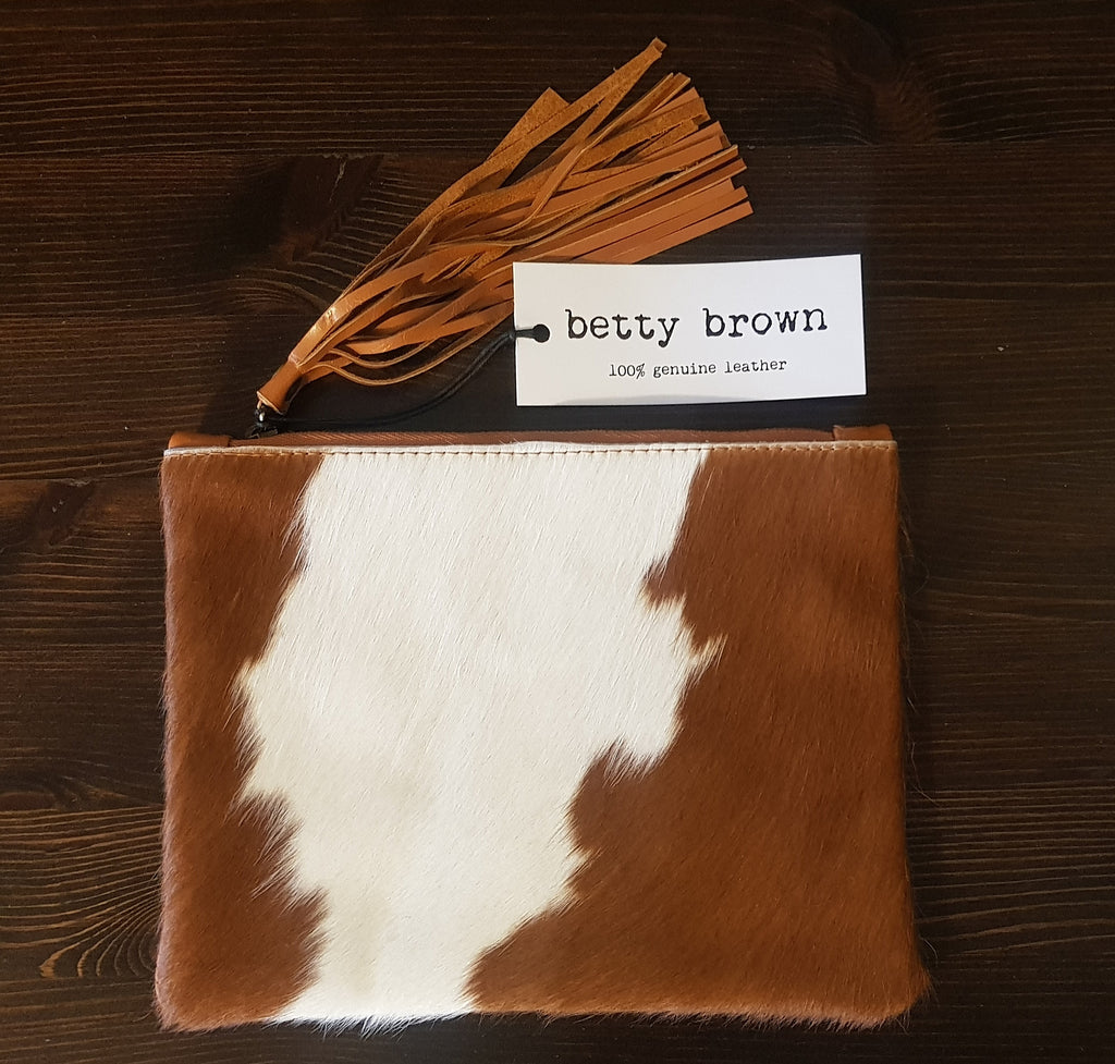 Betty Brown Marnie Clutch Brown and white hide, tan leather