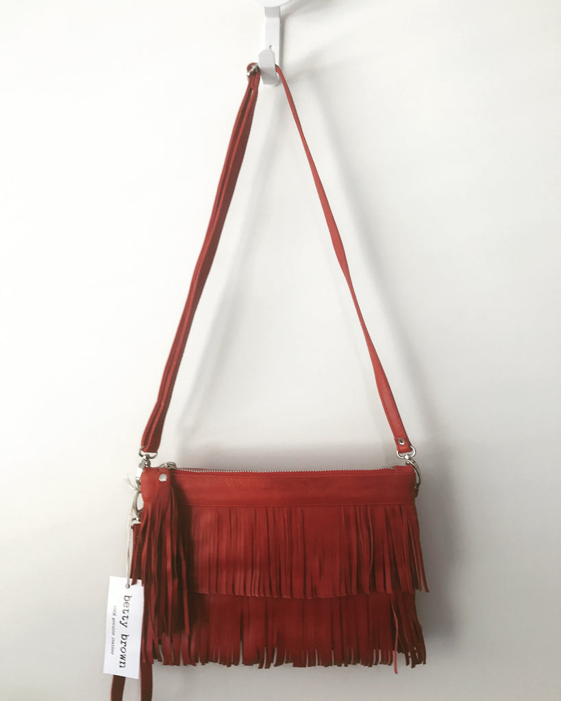 Betty Brown Mel Tassel Bag Red