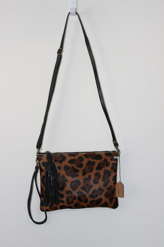 Daly Bag Leopard print cow hide, black leather