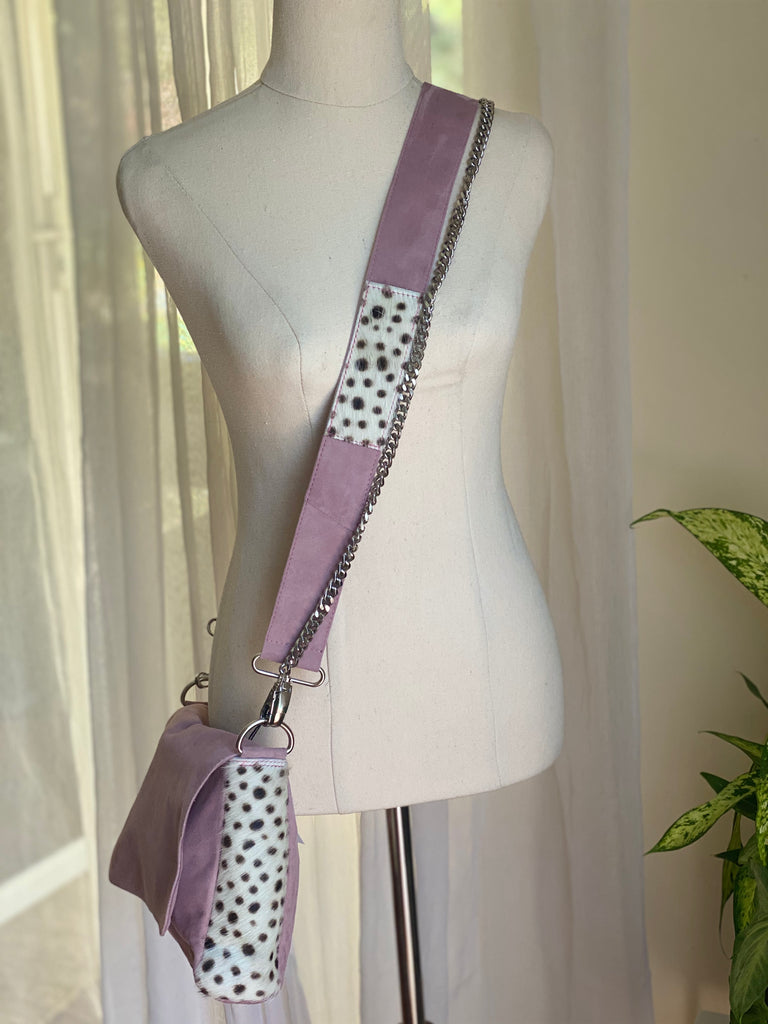 Betty Brown Tanya Suede Bag Dusty pink suede, black and white cheetah cow hide