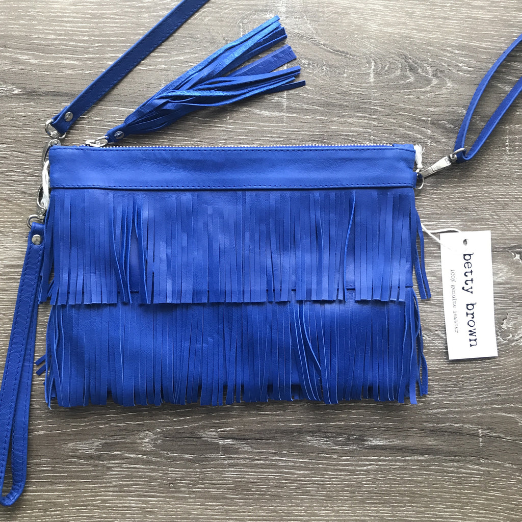 Betty Brown Mel Tassel Bag Electric Blue