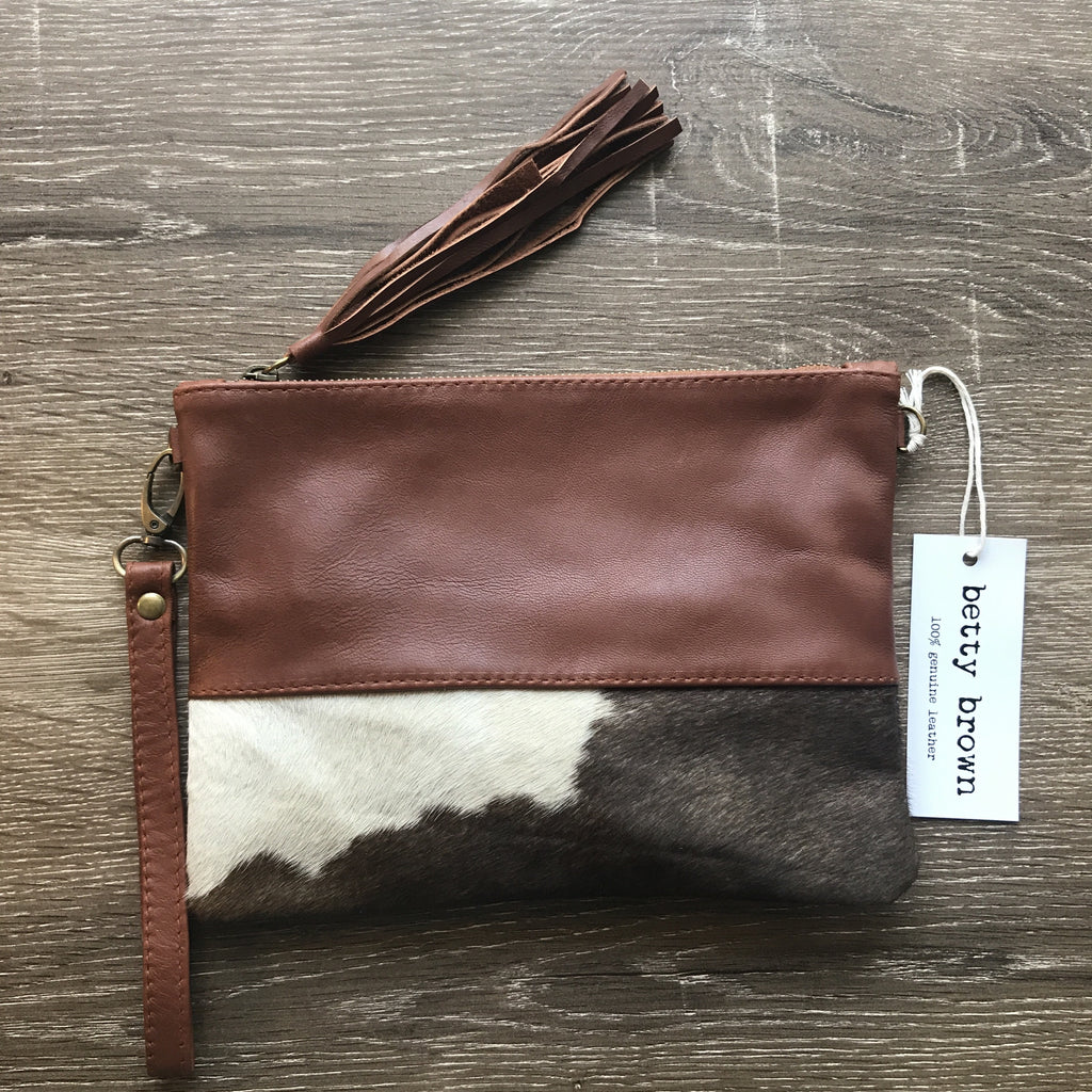 Betty Brown Roxy Bag Brown and white hide, camel leather