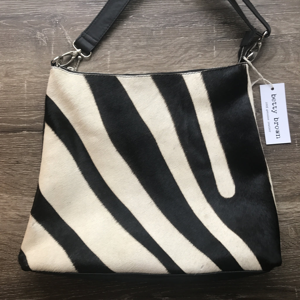 Diddy Day Bag Zebra cow hide, black leather