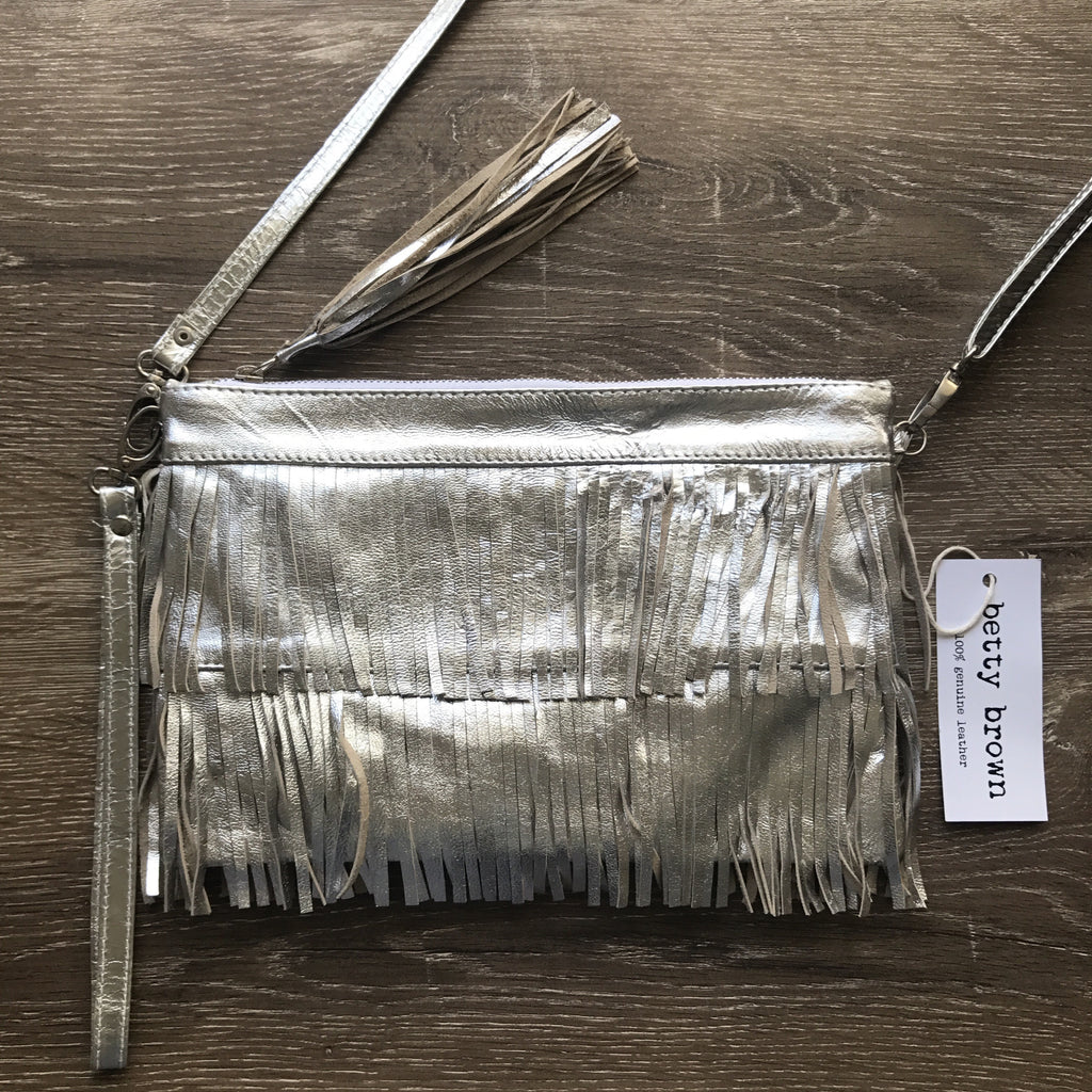 Betty Brown Mel Tassel Bag Silver