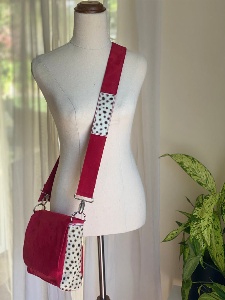 Betty Brown Tanya Suede Bag Red suede, black and white cheetah print cow hide