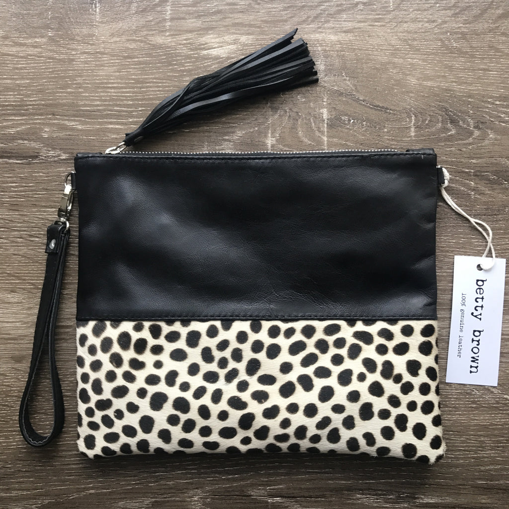 Betsi Bag Black leather, small black and white cheetah