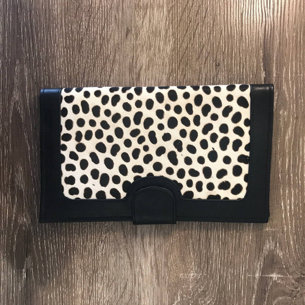Betty Brown Liz Travel Purse Black and white cheetah,  black leather
