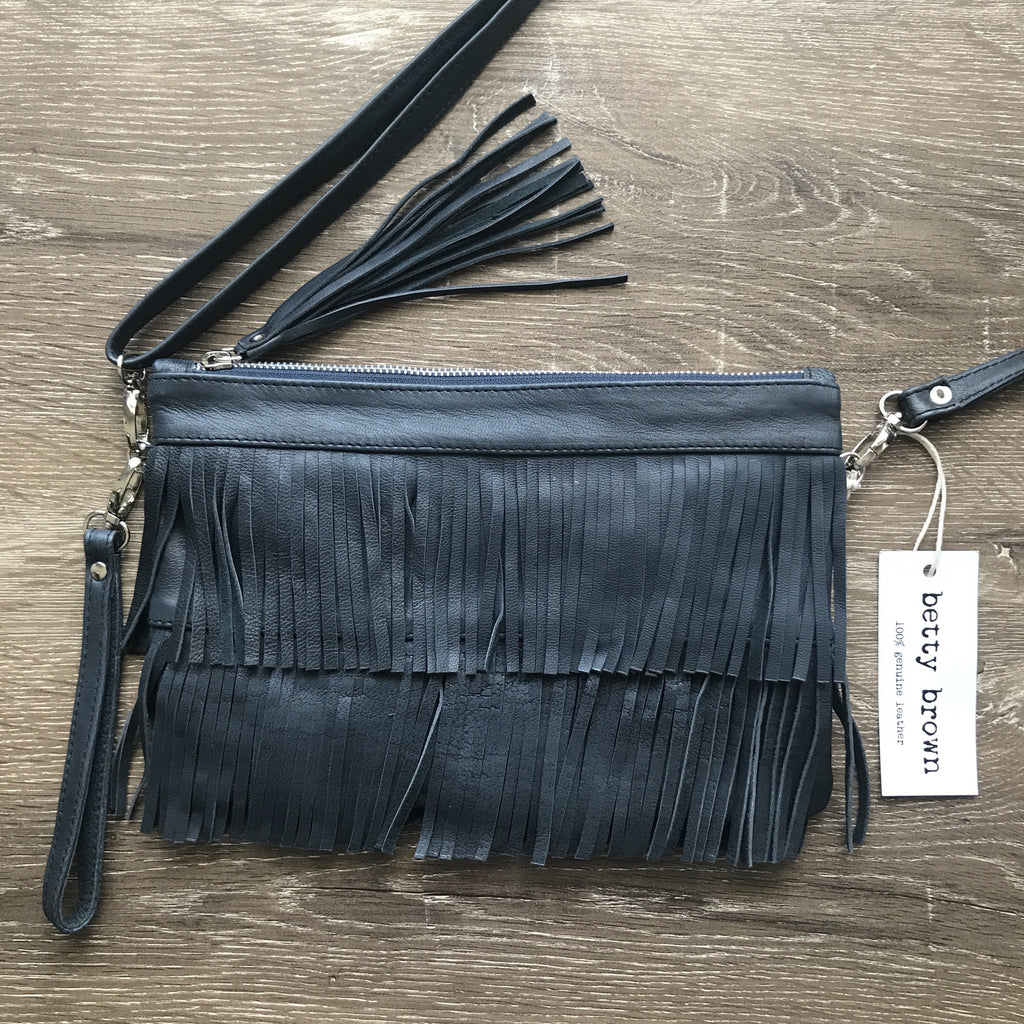 Betty Brown Mel Tassel Bag Navy