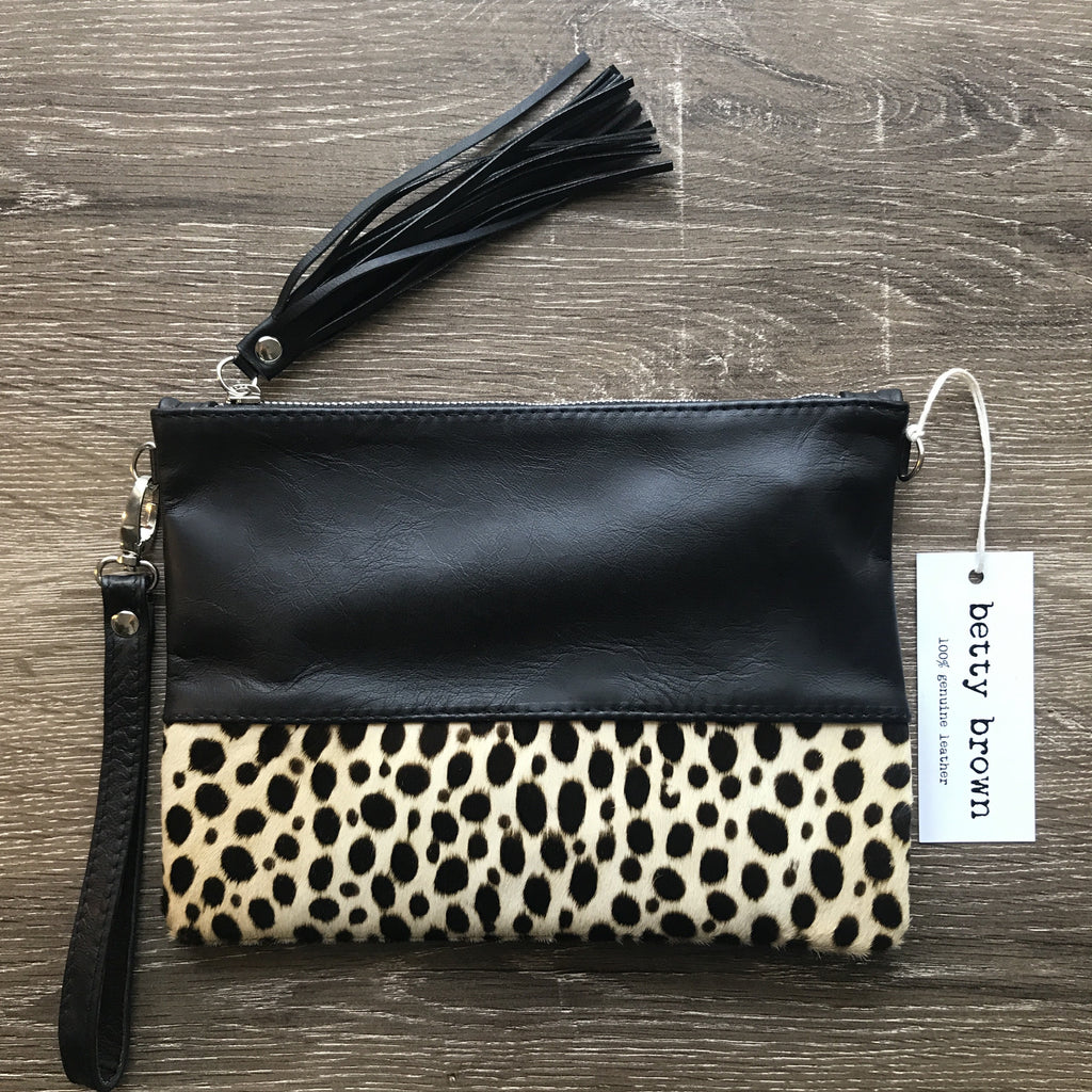 Betty Brown Roxy Bag Black leather, black and white cheetah print