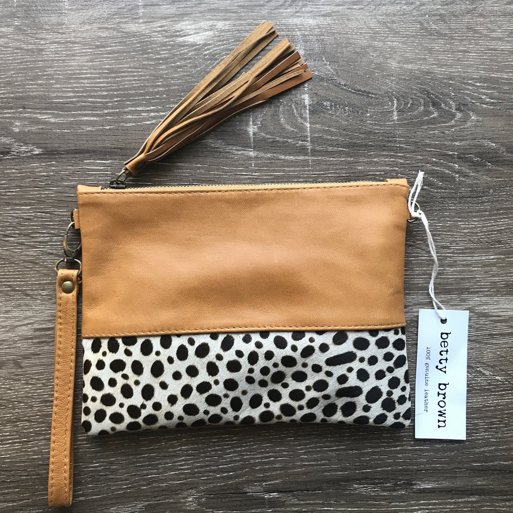 Betty Brown Roxy Bag Light tan, black and white cheetah print