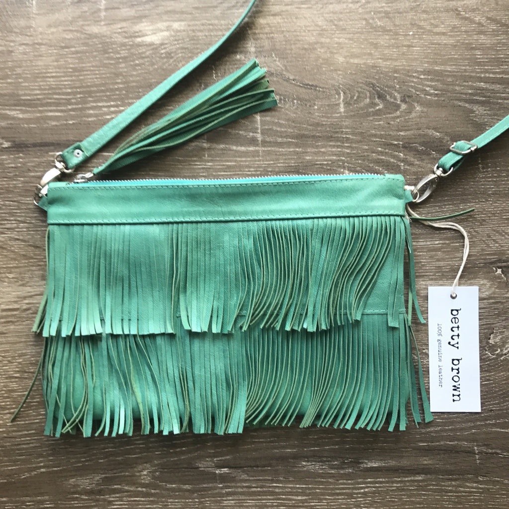 Betty Brown Mel Tassel Bag Aqua