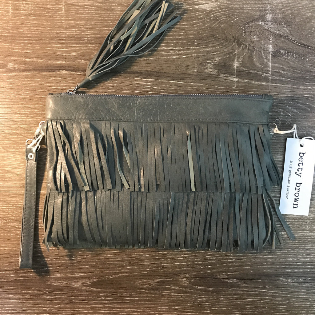 Betty Brown Mel Tassel Bag Grey