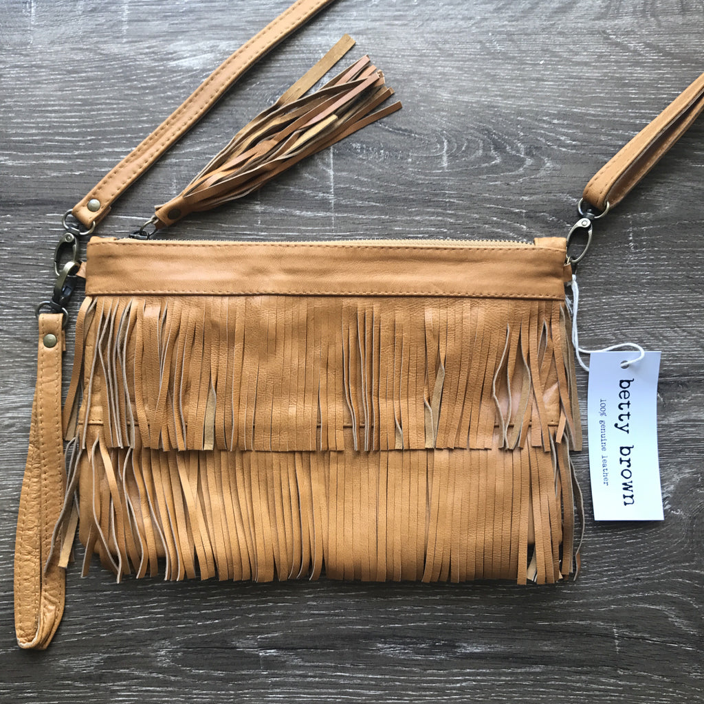 Betty Brown Mel Tassel Bag Tan