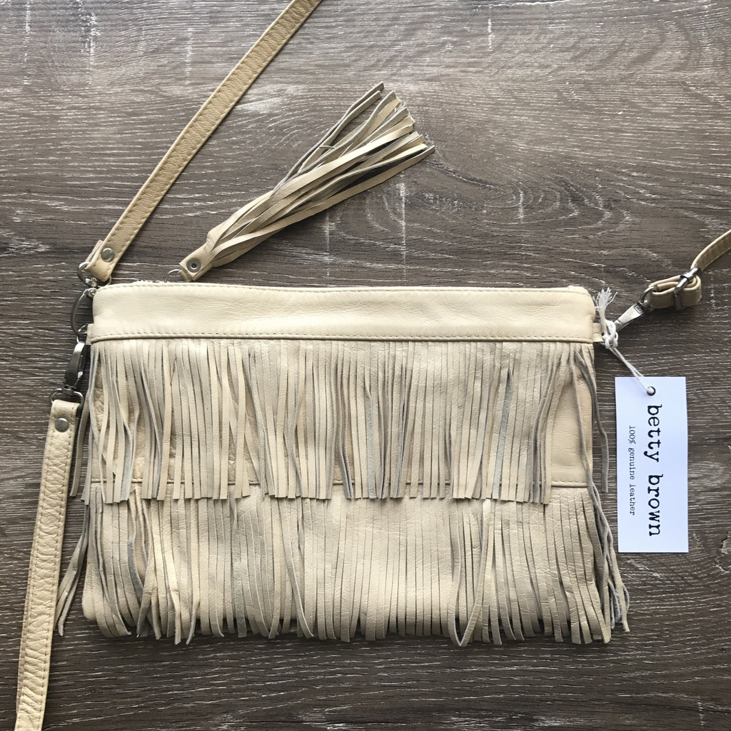 Betty Brown Mel Tassel Bag Beige