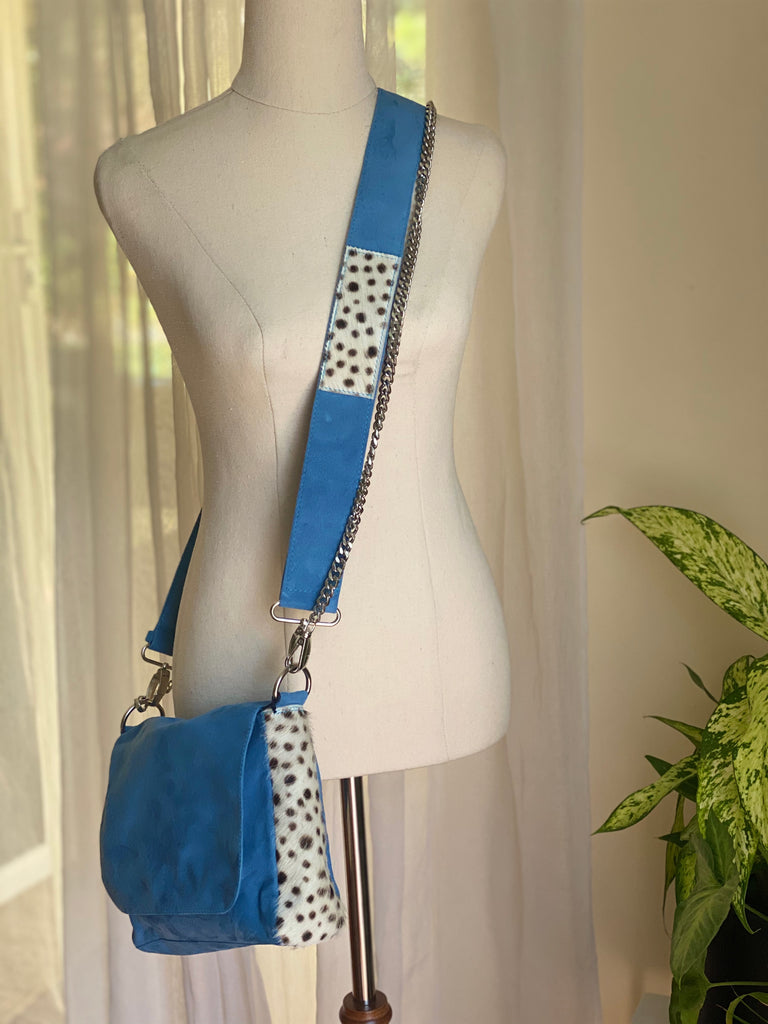 Betty Brown Tanya Suede Bag Baby blue suede, black and white cheetah cow hide