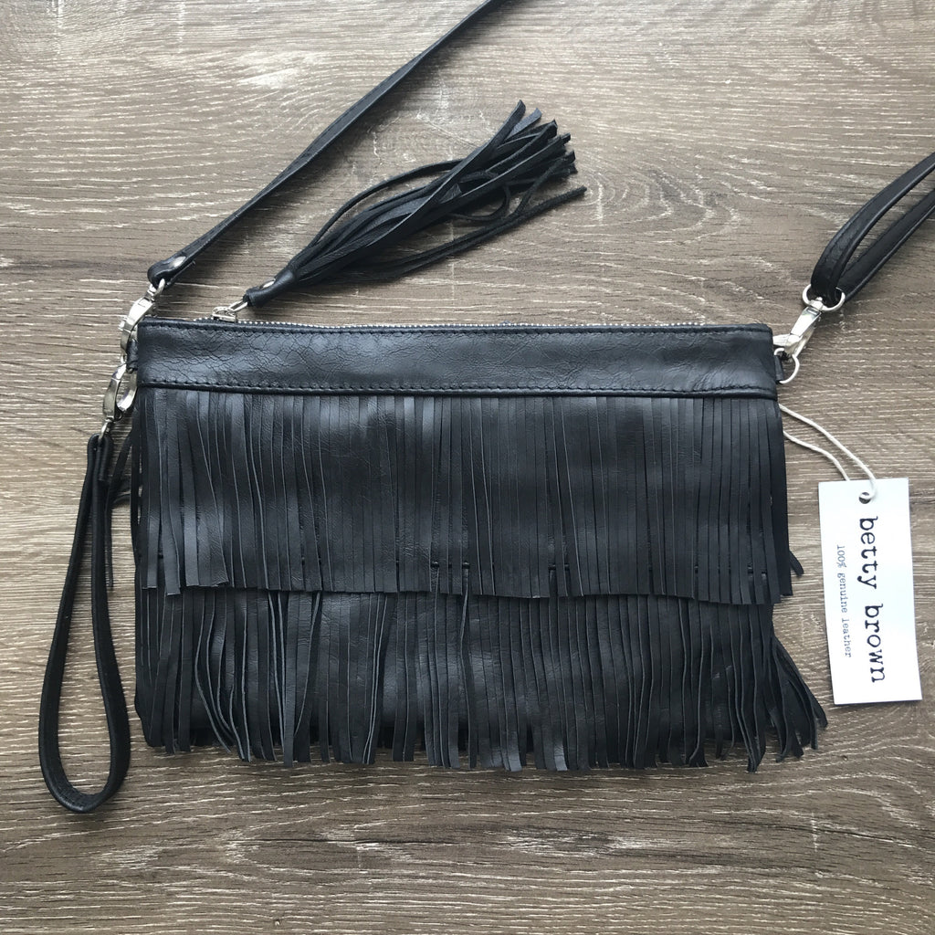 Betty Brown Mel Tassel Bag Black