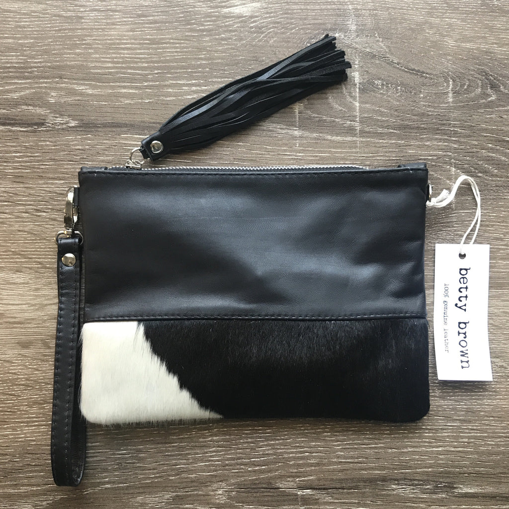 Betty Brown Roxy Bag Black and white natural cow hide, black leather