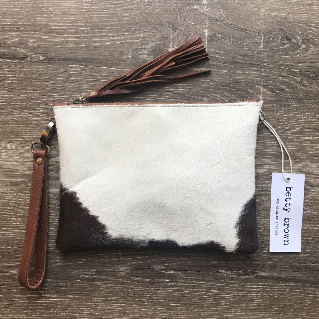 Daly Bag Brown and white natural cow hide, camel colour leather