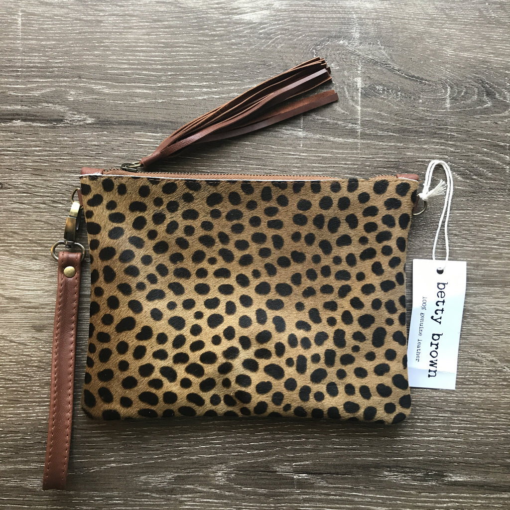 Daly Bag Small tan cheetah, camel leather