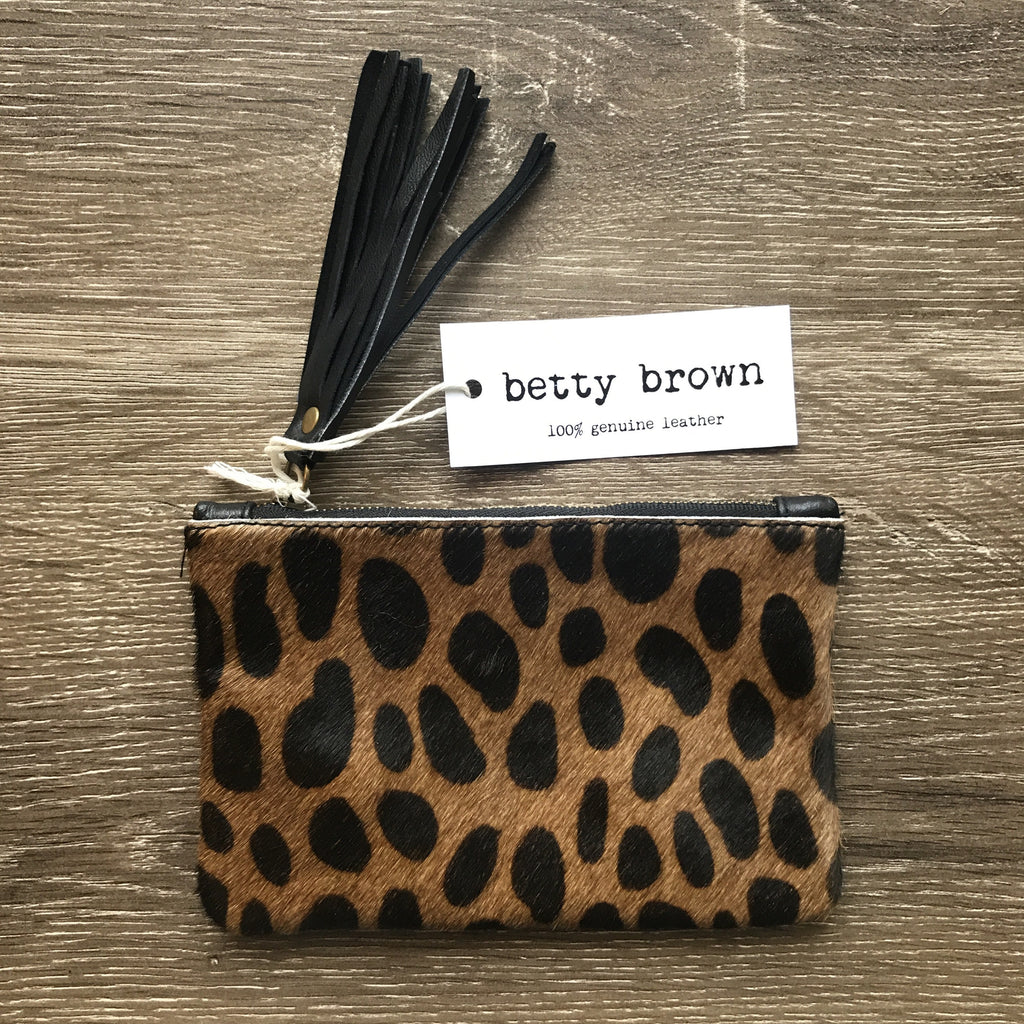 Betty Brown Penny Purse Large tan cheetah