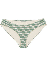 Classic semi covering sage green bikini bottom in geometric tile print by Caroline af Rosenborg