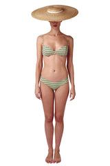 Bandeau bikini top and classic sage green bikini bottom in geometric tile print by Caroline af Rosenborg