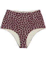 Highwaisted reversible bikini bottoms in dark red burgundy giraffe animal print by Caroline af Rosenborg